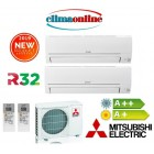 DUAL SPLIT MITSUBISHI ELECTRIC SERIE DM 9000+9000 BTU A++/A+ GAS R32