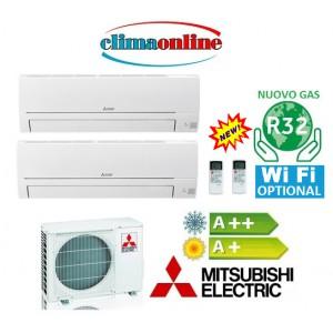 DUAL SPLIT MITSUBISHI ELECTRIC SERIE HR 9000+9000 BTU A++/A+ GAS R32